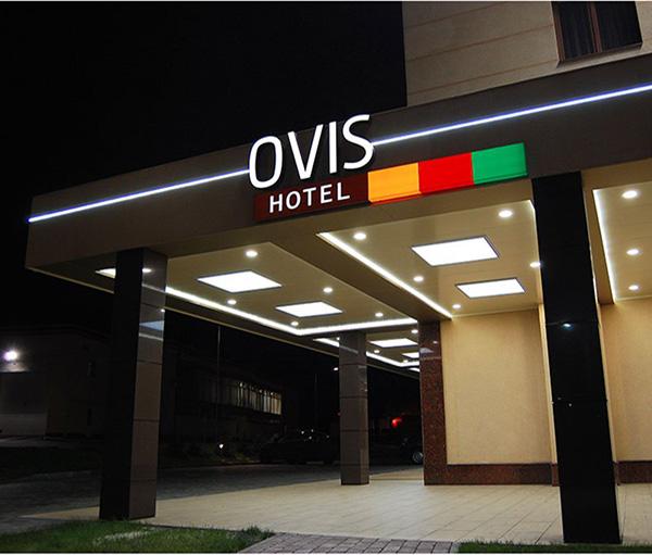 Вывеска OVIS HOTEL с лед подсветкой