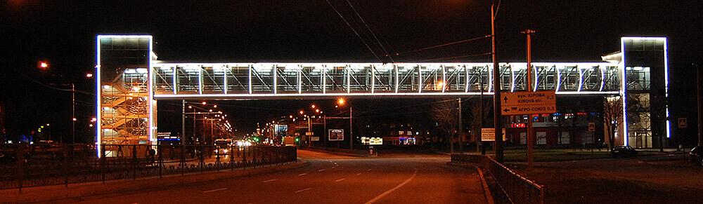 Светодиодная подсветка пешеходного перехода через пр.Гагарина в г. Харькове