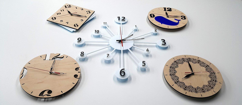 Дизайнерские часы изготовленные методом лазерной резки