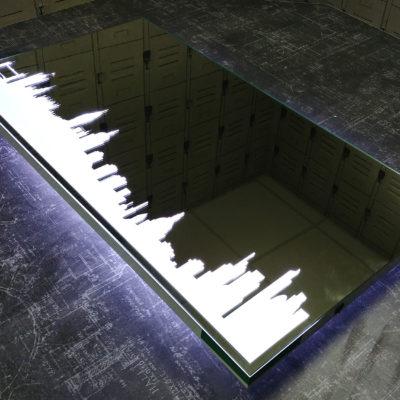 Прямоугольное зеркало с лед подсветкой силуэта города