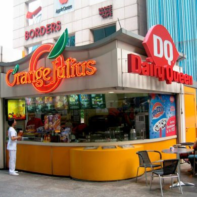 Дизайн киоска Orange Julius