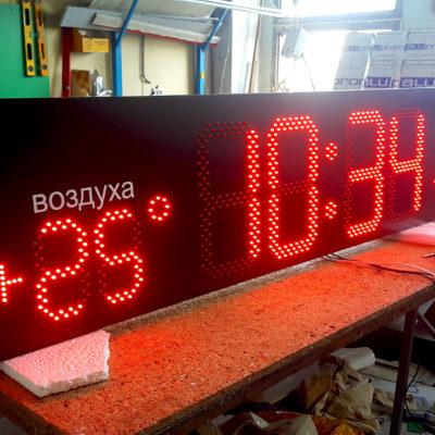 Вывеска светодиодные часы-термометр