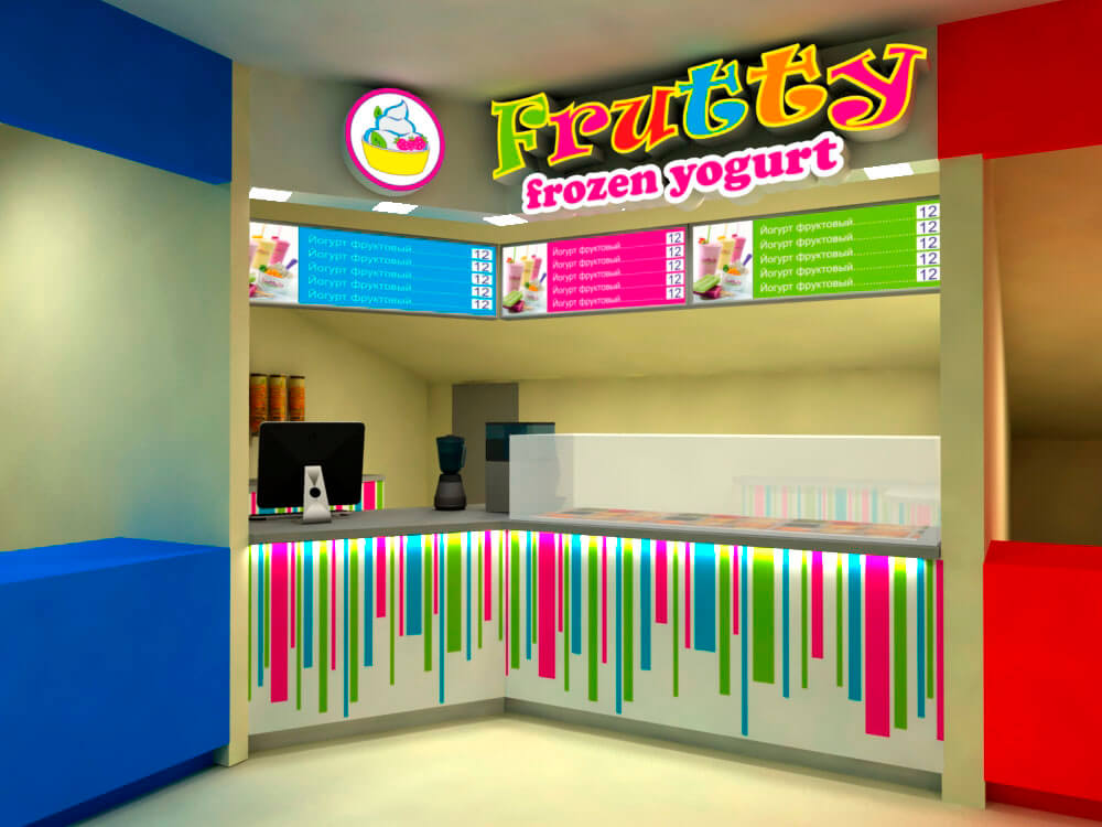Макет точки питания Frutty frozen yogurt