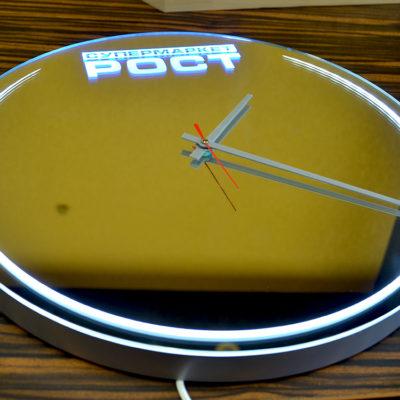 Зеркало часы РОСТ супермаркет с лед подсветкой