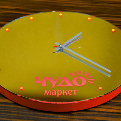 Зеркало часы с логотипом Чудо маркет