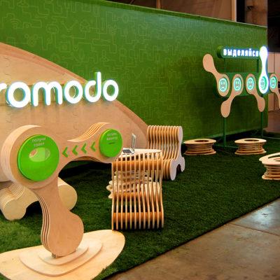 Выставочный стенд из фанеры и акрила с лед подсветкой Promodo