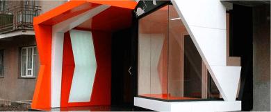 Цветной фасад из акрила с лед подсветкой