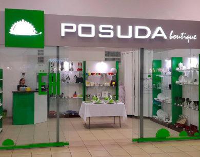 Вывеска POSUDA boutique с лед подсветкой