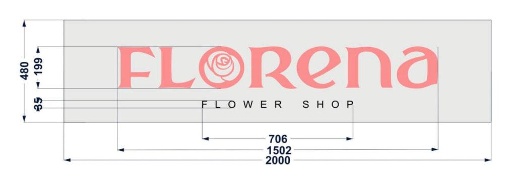 Дизайн макет Вывеска Florena с плоскими буквами с размерами всех элементов