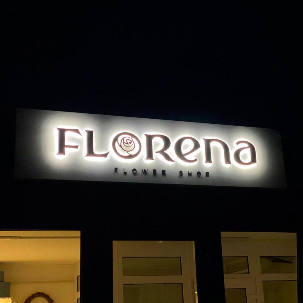 Вывеска florena-Дизайн-макет-вывески-с-контражурными-буквами