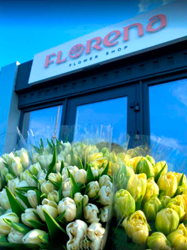 Вывеска цветочного магазина Florena с контражутной подсветкой
